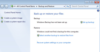 Backup and Restore on Windows 7.