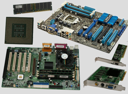 Computer components - Motherboards, RAM, CPU, Network Card, and Sound Card.
